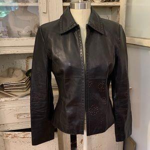 Brandon Thomas Glove Leather Laser Cut Jacket Sz S
